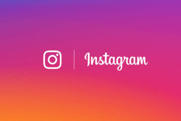 logo of instagram with mixed purple and orange background